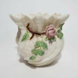 Bellek Accents - Vtg Irish Belleek Vase Ruffled Shamrock Pink Rose